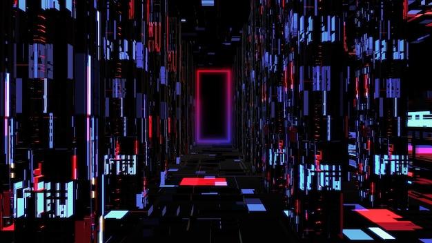 前進するサイバースペースの抽象的なネオンデジタルトンネル