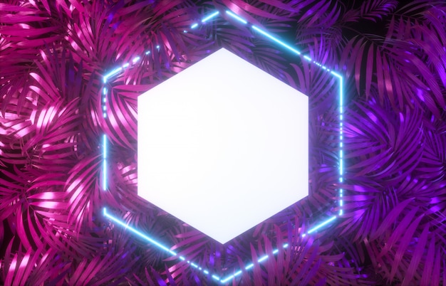 Abstract neon frame backdrop with tropical leaves background. 3d render.