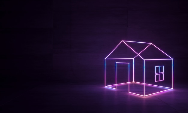Abstract neon house