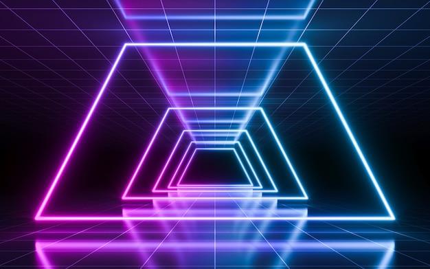 원근 격자와 추상 네온 빛 배경입니다. 3d 렌더링