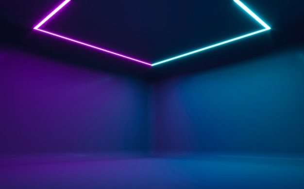 Abstract neon light in  empty room. 3d rendering