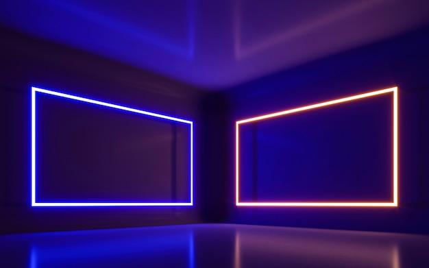 空の部屋で抽象的なネオンの光。 3dレンダリング