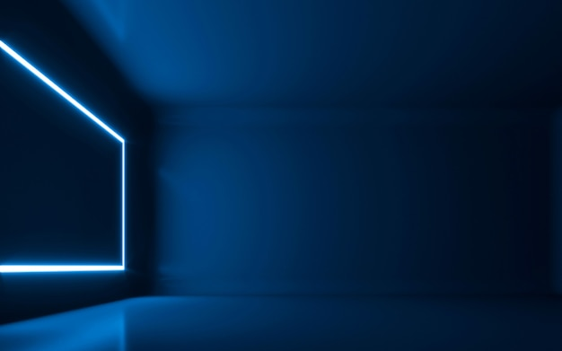 Абстрактный неоновый свет в пустой комнате. 3d рендеринг