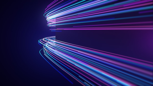 Abstract neon light streaks lines motion wall