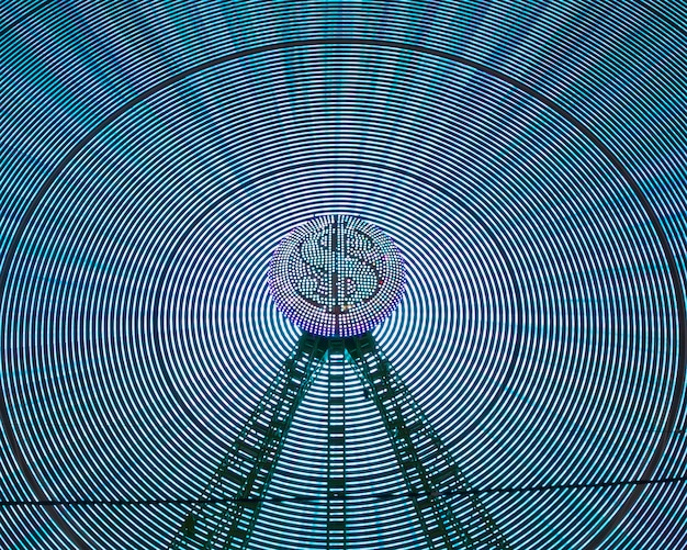 Abstract neon light waves of wonder wheel