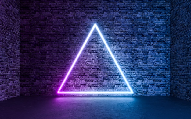Abstract neon light with empty grunge concrete brick room background. 3d rendering