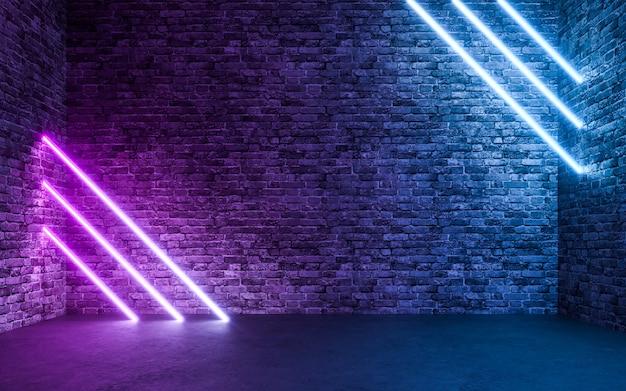 빈 그런 지 콘크리트 벽돌 방 배경으로 추상 네온 빛. 3d 렌더링