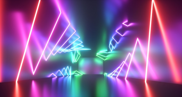 抽象的なネオンライトの背景。レンダリング