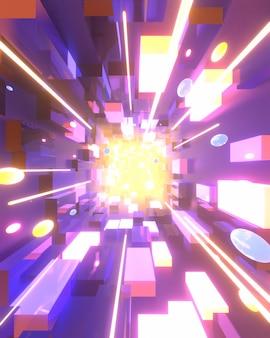 明るい縞のある抽象的なネオンパープルの長い立方体fx背景3dレンダリング画像