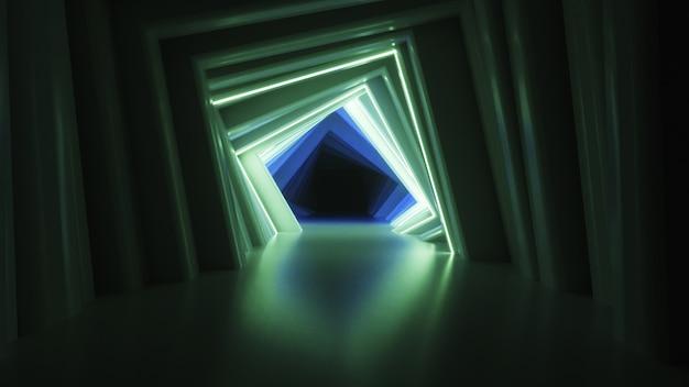 Абстрактный неоновый квадратный туннель технологический
