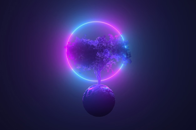 Abstract neon table, mystical cosmic tree sprouting through a round planet in the light of a neon glowing round frame, pink blue glowing, 3d illustration