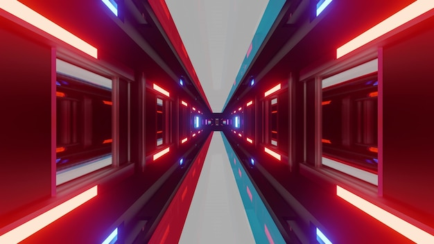 Abstract neon tunnel with glowing lights of luxembourg national flag as 3d illustration in 4k uhd