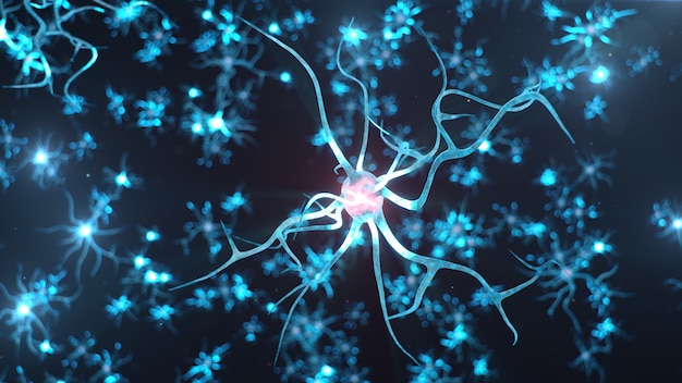 Abstract neural cells. synapses and neuronal cells send electrical chemical signals.