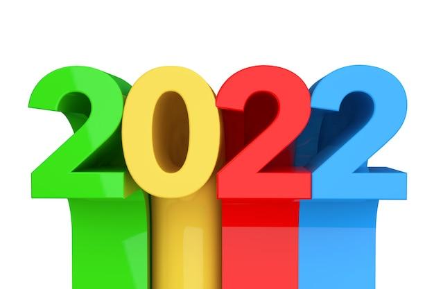 白い背景の上の抽象的な新しい2022年のサイン。 3dレンダリング