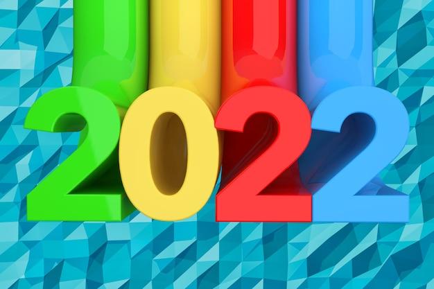 青いlowpoly背景の上の抽象的な新しい2022年のサイン。 3dレンダリング