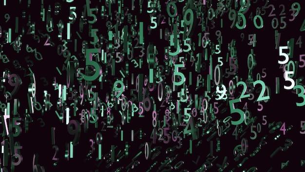 壁紙の背景技術の図の抽象的な数字の濃い緑と紫の3dレンダリング