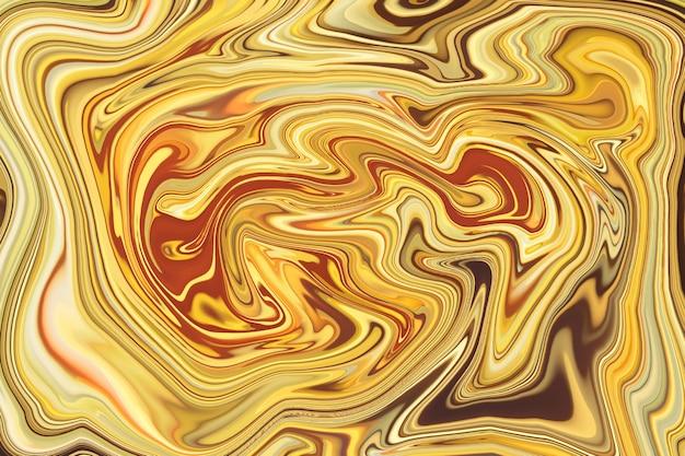抽象的な海、クリスマス、新年、休日、パーティーのための焦点がぼけた金色のライトの背景。液体の大理石のパターン。カラフルな大理石の背景。