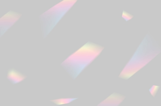 Абстрактное наложение света размытой радужной призмы на сером фоне для макета и декора
