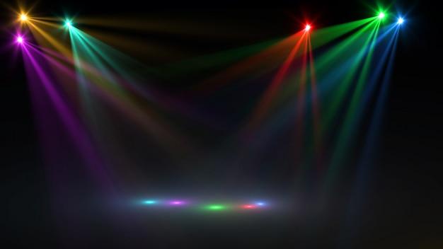 Реферат пустой сцены с красочными прожекторами