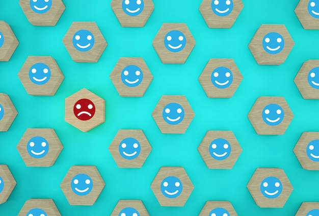 Аннотация лица эмоции счастья и грусти, уникальный, думать по-другому, индивидуально и выделяясь из толпы. деревянный шестиугольник с иконой на синем фоне.