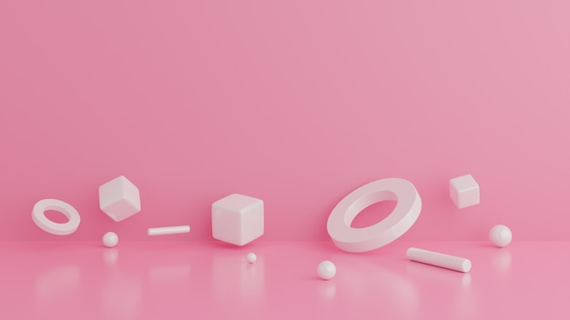 Конспект геометрической формы. минимальная розовая сцена стены.
