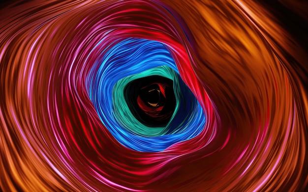 中央に黒色の多色の丸い渦巻きまたは渦巻きのぼかし線の要約。暗くて熱い赤、オレンジ色の背景。