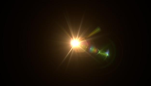 Аннотация солнца с вспышкой. естественный фон с огнями и солнцем