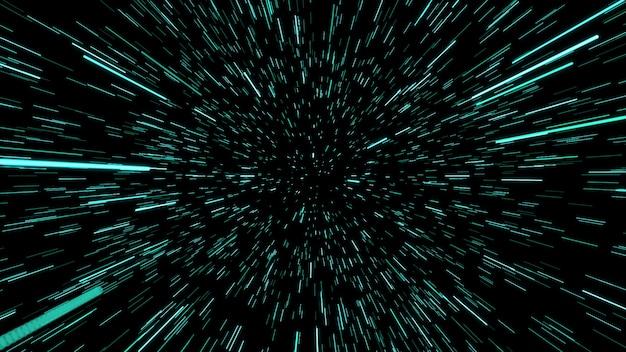 Конспект движения деформации или гиперпространства в след голубой звезды. взрывающееся и расширяющееся движение. иллюстрация