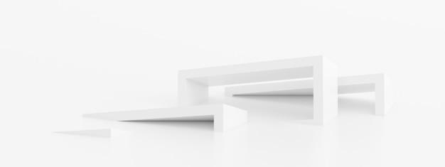흰색 기하학적 배경, 미래 지향적인 현대적인 건물 디자인, 3d 렌더링의 개요.