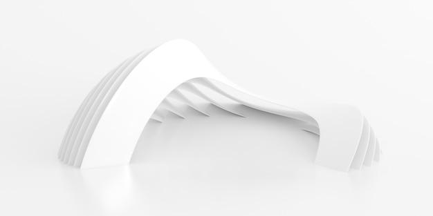 흰색 선 배경의 추상, 최소한의 동적 모양, 3d 렌더링.
