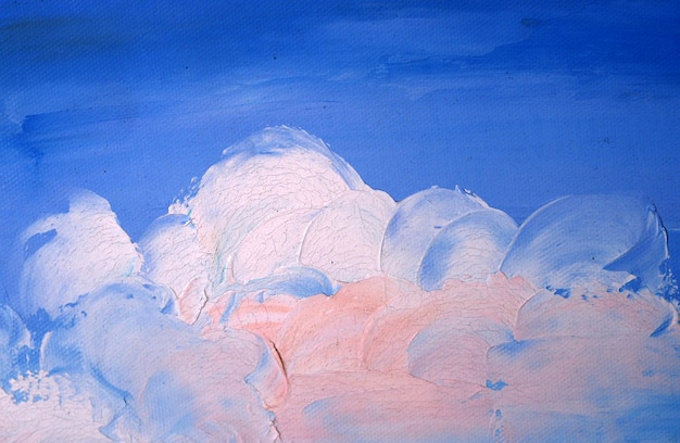 Abstract oil painting blue sky with cloud.