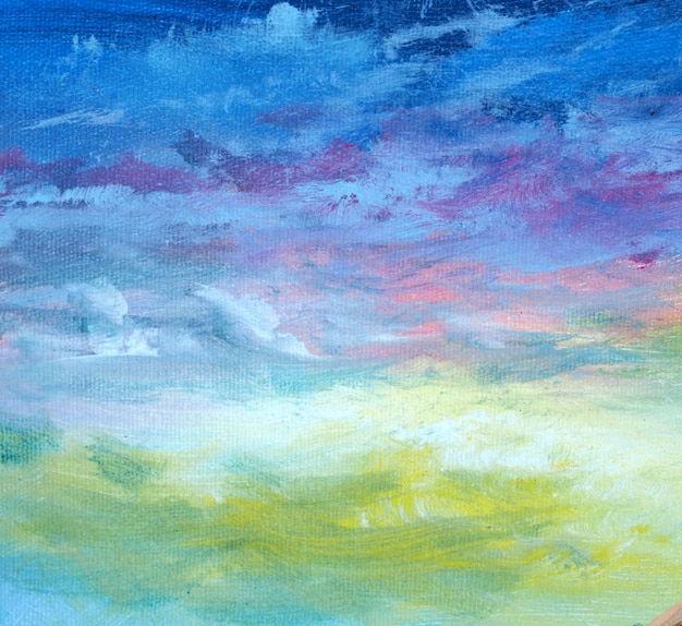 雲と抽象的な油絵青空。
