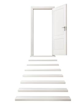 抽象的な開いた白いドア