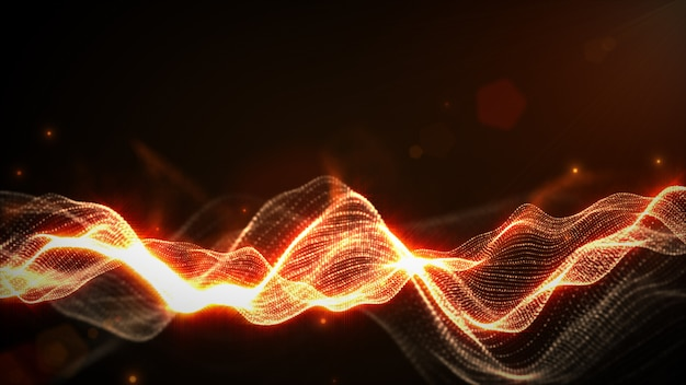 Abstract orange color digital particles wave with bokeh and light background