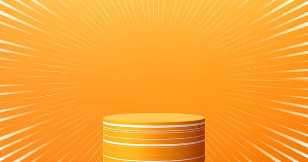 Abstract orange color product stage background or podium pedestal display on blank cartoon art room with studio showcase backdrop. 3d rendering.