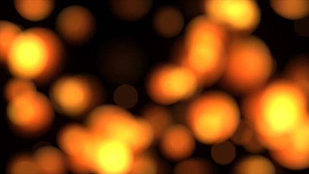 Abstract orange lights in defocus 3d illustration