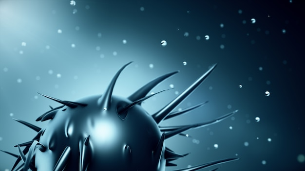 Abstract organic sphere releasing tentacles in dark blue color rotating in droplets of water 3d illustration