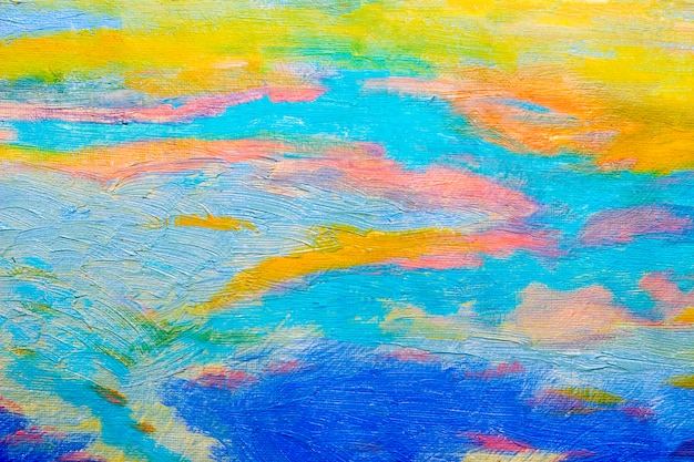 Abstract original oil painting with blue sky