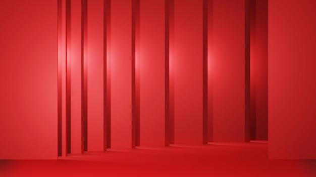 抽象的な重なり合う赤い背景展示室美しく階層化された3dレンダリング