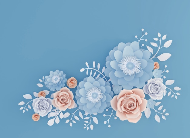 Abstract paper art flower isolated on blue background, 3d illustration.