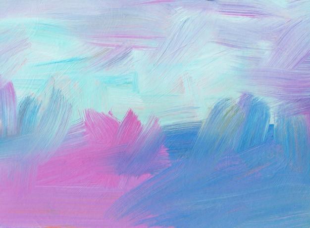 Абстрактный пастельный фон. картина маслом нарисованная рукой. розовые, синие и белые мазки краски на бумаге. современное искусство.