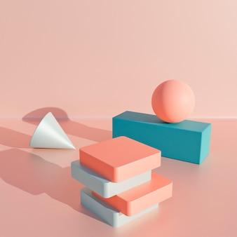 추상 파스텔 색상 기하학적 모양 배경, 연단 디스플레이 또는 쇼케이스를 위한 현대적인 미니멀리즘, 3d 렌더링.
