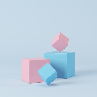 Abstract pastel color geometric shape, podium display for product. minimal concept. 3d rendering.