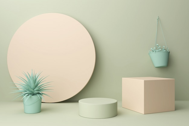 Abstract pastel color scene, pink geometric shape podium,3d rendering.
