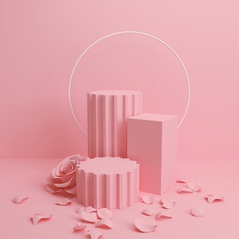Abstract pastel color scene, pink geometric shape podium background,3d rendering.
