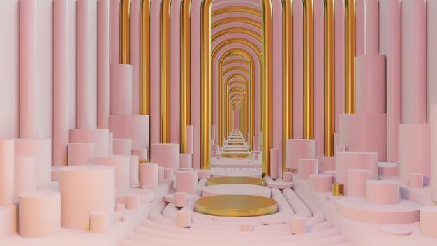 건축 및 건물 장면의 벽지에 대한 기하학적 배경이 있는 추상 파스텔 색상