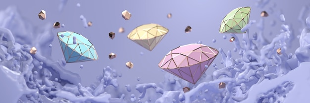 Abstract pastel diamond with violet liquid splash soft focus , 3d rendering