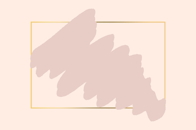 금색 사각형 기하학적 프레임이 있는 추상 파스텔 핑크 브러시 배경. 아름다움과 패션 로고 배경입니다.
