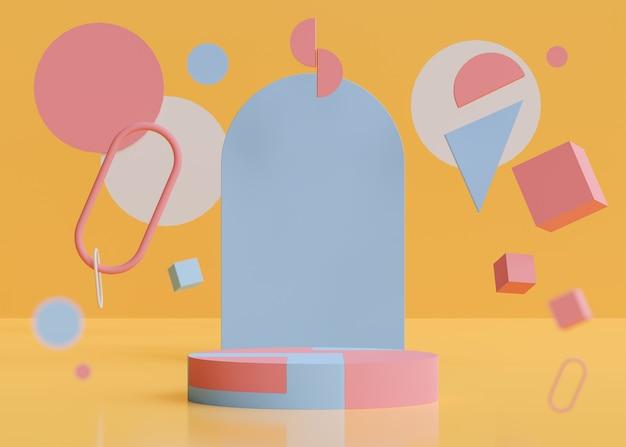 Abstract pastel podium on orange background 3d render