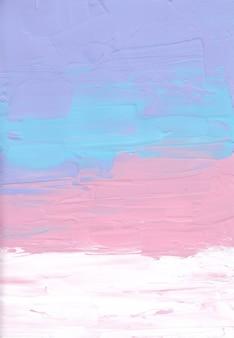 Абстрактные пастельные фиолетовые, синие, розовые, белые мазки кистью на бумаге.